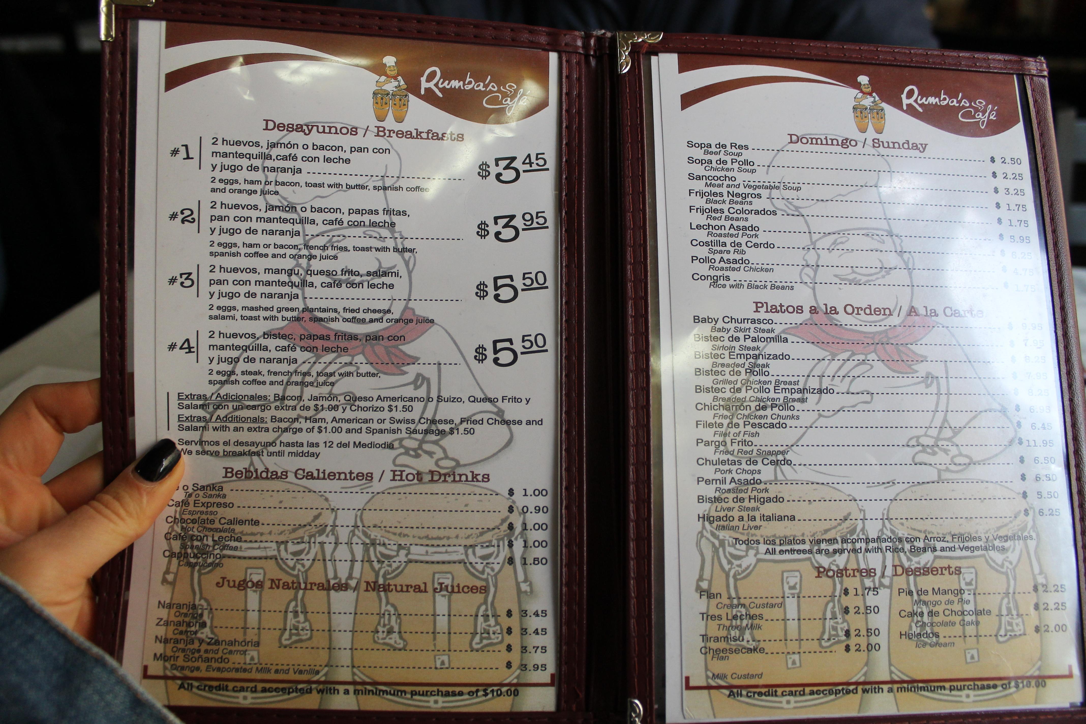 Rumbas Cafe Menu