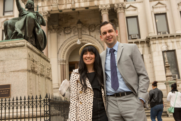 2015-4-16 Jersey City NJ. Lynn Hazan interviews Mayor Steven Fulop for chicpeajc.com. Photo: Greg Pallante