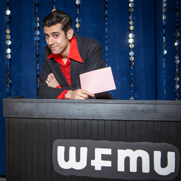 "2015-4-06 Jersey City NJ. Lynn Hazan aka Chicpeajc.com interviews WFMU's Pat Byrne, host of monthly variety show ""Prove it all Night"". Photo: Greg Pallante"