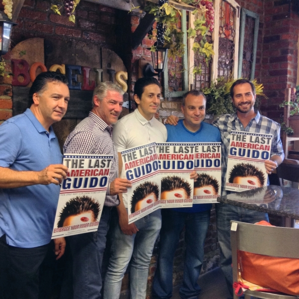 Meet and greet with the cast and creator of the indie film The Last American Guido at Bocelli's Italian Deli in Jersey City, New Jersey. Joe Doyle (Bocelli's Owner), Paul Dunleavy (actor McNally), Joe Ferraro (actor Stan), Vito Labruno (writer director), and Mike DiGiancinto (actor Tommy)
