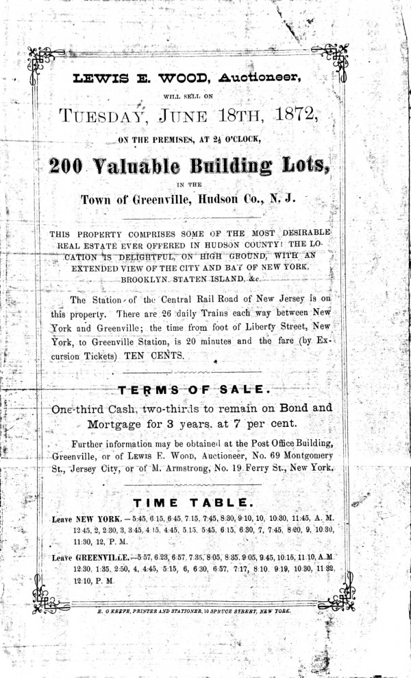 1872 Auction Advertisement with train schedule