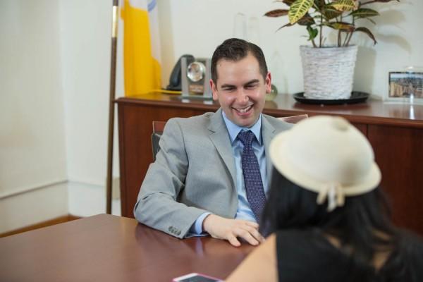 2015-4-16 Jersey City NJ. Lynn Hazan interviews Mayor Steve Fullop for Chicpeajc.com. Photo: Greg Pallante