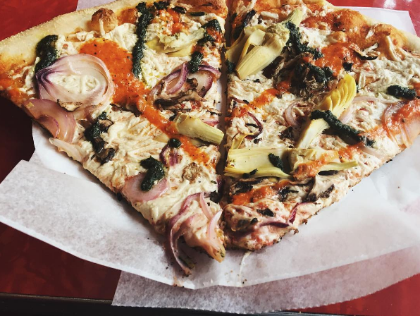 V for Vegan slices. Photo by @courtneylwrites, https://www.instagram.com/p/BHh8XUvBIIE/