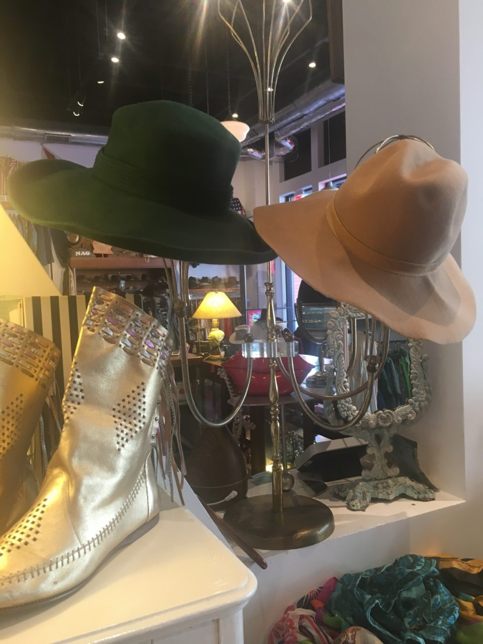 1970's Wool Felt Wide-Brim Hat & 1960's Oscar De La Renta Hunter Green Wide-Brim Hat from Another Man's Treasure
