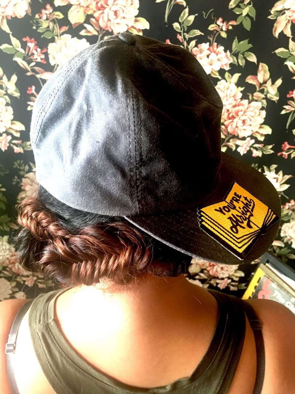 Canvas Hat and Patch from Kanibal & Co Fish Tail Braided updo via The Hair Room JC Braid Bar