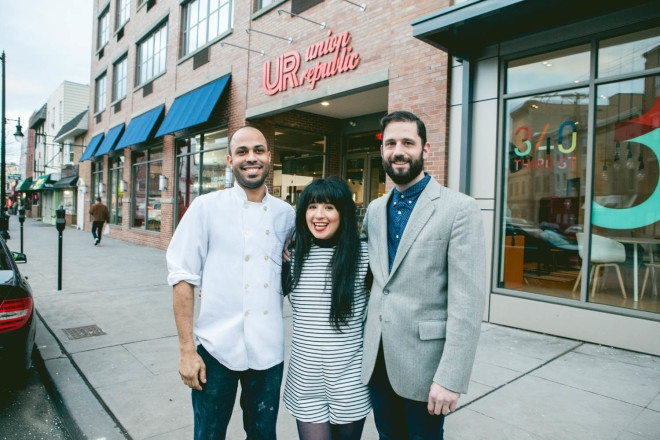 2015-1-19 Jersey City NJ. Lynn Hazan aka ChicpeaJC interviews. Owner Noah and Chef Greg at Union republic. Photo: Greg Pallante