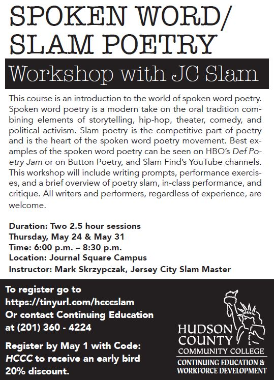 Spoken Word / Slam Poetry Workshop with JC Slam Master