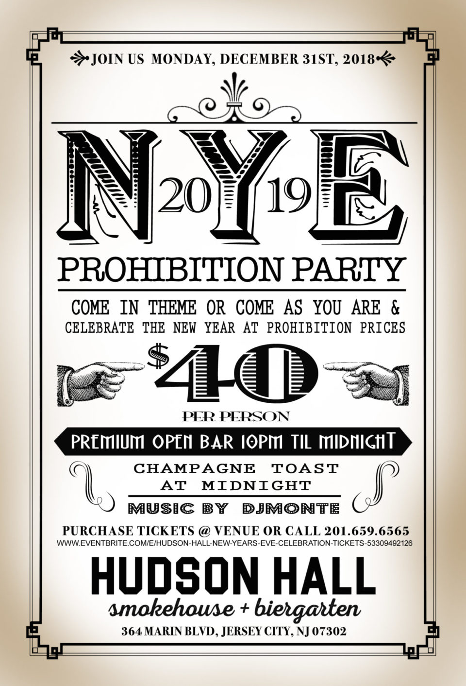 ring in the new year at hudson hall from 9pm to 1am theyll have a premium open bar balloon drop photo booth party favors passed hors doeuvres