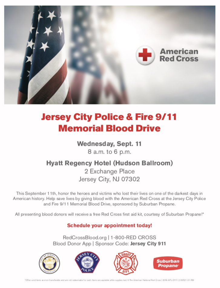 Jersey City Police & Fire 9/11 Memorial Blood Drive - chicpeaJC